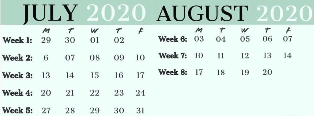Super Kickers Summer Camp 2020 Calendar